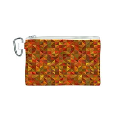 Gold Mosaic Background Pattern Canvas Cosmetic Bag (S)