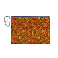 Gold Mosaic Background Pattern Canvas Cosmetic Bag (m)