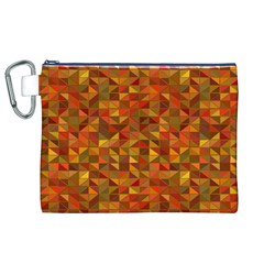 Gold Mosaic Background Pattern Canvas Cosmetic Bag (XL)