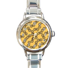 Abstract Shapes Links Design Round Italian Charm Watch