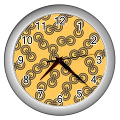 Abstract Shapes Links Design Wall Clocks (Silver)