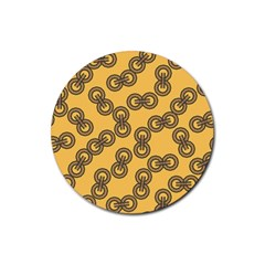 Abstract Shapes Links Design Rubber Coaster (Round)