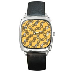 Abstract Shapes Links Design Square Metal Watch
