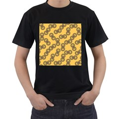 Abstract Shapes Links Design Men s T-Shirt (Black) (Two Sided)