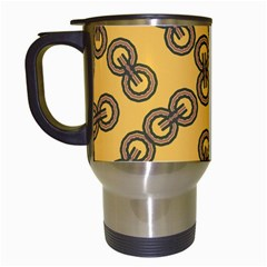 Abstract Shapes Links Design Travel Mugs (White)