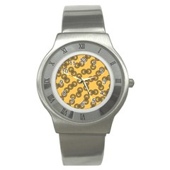Abstract Shapes Links Design Stainless Steel Watch
