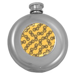 Abstract Shapes Links Design Round Hip Flask (5 Oz)