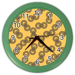 Abstract Shapes Links Design Color Wall Clocks