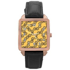 Abstract Shapes Links Design Rose Gold Leather Watch