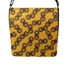 Abstract Shapes Links Design Flap Messenger Bag (L)