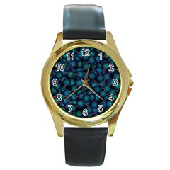 Background Abstract Textile Design Round Gold Metal Watch