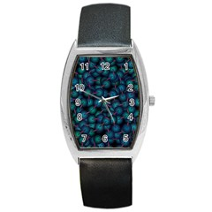 Background Abstract Textile Design Barrel Style Metal Watch