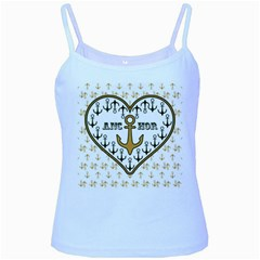 Anchor Heart Baby Blue Spaghetti Tank