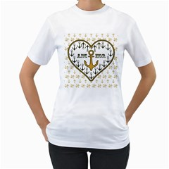 Anchor Heart Women s T-Shirt (White) (Two Sided)