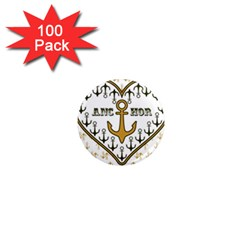Anchor Heart 1  Mini Magnets (100 pack)
