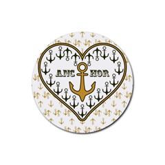 Anchor Heart Rubber Coaster (Round)