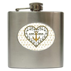 Anchor Heart Hip Flask (6 Oz)
