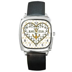 Anchor Heart Square Metal Watch