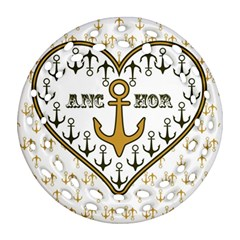 Anchor Heart Round Filigree Ornament (Two Sides)