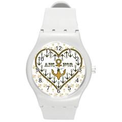 Anchor Heart Round Plastic Sport Watch (M)