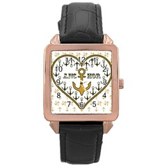 Anchor Heart Rose Gold Leather Watch