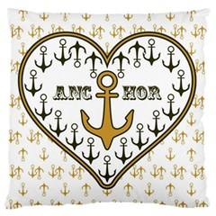 Anchor Heart Large Flano Cushion Case (Two Sides)