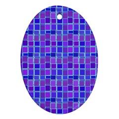 Background Mosaic Purple Blue Ornament (oval)