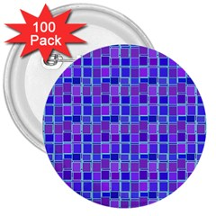 Background Mosaic Purple Blue 3  Buttons (100 Pack)