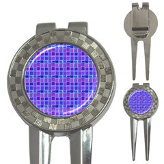 Background Mosaic Purple Blue 3-in-1 Golf Divots