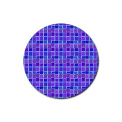 Background Mosaic Purple Blue Rubber Coaster (Round)