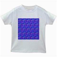 Background Mosaic Purple Blue Kids White T Shirts