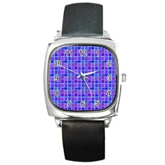 Background Mosaic Purple Blue Square Metal Watch