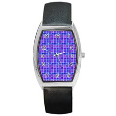 Background Mosaic Purple Blue Barrel Style Metal Watch