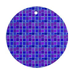 Background Mosaic Purple Blue Round Ornament (Two Sides)