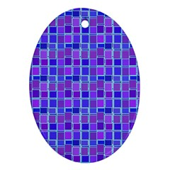 Background Mosaic Purple Blue Oval Ornament (Two Sides)
