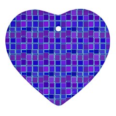 Background Mosaic Purple Blue Heart Ornament (Two Sides)