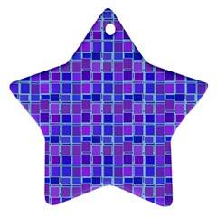 Background Mosaic Purple Blue Star Ornament (Two Sides)