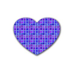 Background Mosaic Purple Blue Rubber Coaster (Heart)