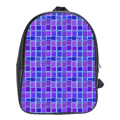 Background Mosaic Purple Blue School Bags(Large)