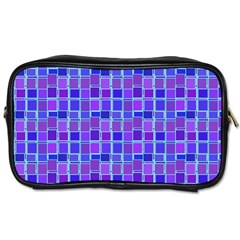 Background Mosaic Purple Blue Toiletries Bags 2 Side