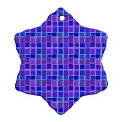 Background Mosaic Purple Blue Snowflake Ornament (Two Sides)