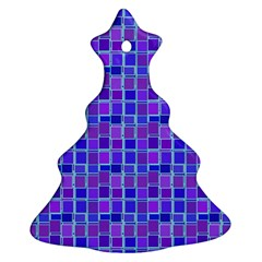 Background Mosaic Purple Blue Christmas Tree Ornament (Two Sides)