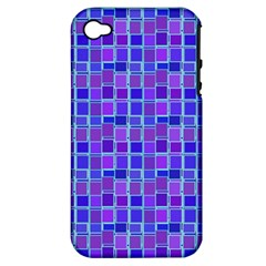 Background Mosaic Purple Blue Apple iPhone 4/4S Hardshell Case (PC+Silicone)