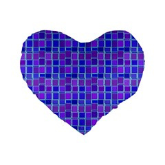 Background Mosaic Purple Blue Standard 16  Premium Heart Shape Cushions