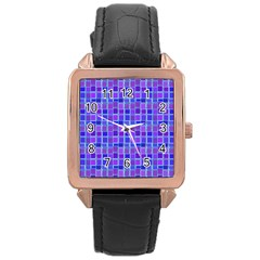 Background Mosaic Purple Blue Rose Gold Leather Watch