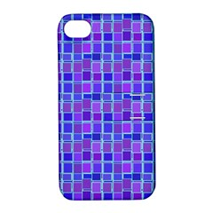 Background Mosaic Purple Blue Apple iPhone 4/4S Hardshell Case with Stand