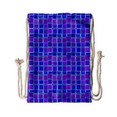 Background Mosaic Purple Blue Drawstring Bag (small)