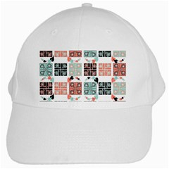 Mint Black Coral Heart Paisley White Cap