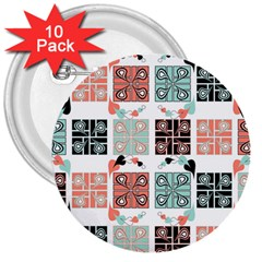 Mint Black Coral Heart Paisley 3  Buttons (10 pack)
