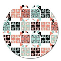 Mint Black Coral Heart Paisley Magnet 5  (round)